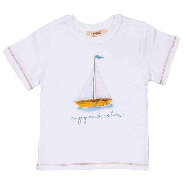 "Jungen T-Shirt kurzam ""enjoy and relax"" in weiß"